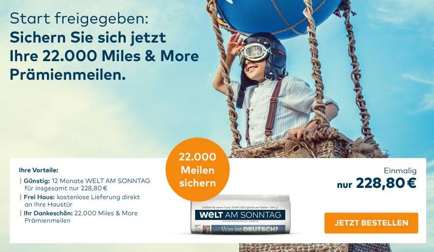 20.000 Miles & More Meilen WELT AM SONNTAG Abo Details