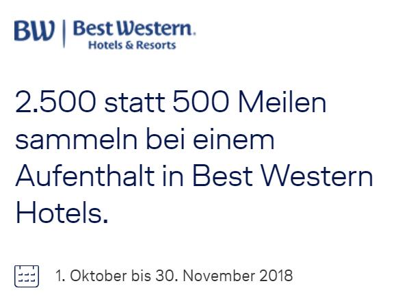 2500 Meilen für eine Best Western Übernachtung 5fach Meilenbonus