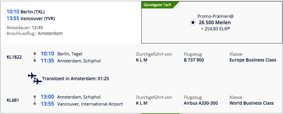 Für 493€ und 53000 Meilen Business Class nach Kanada Hinflug