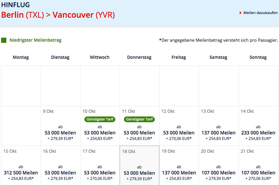 Für 493€ und 53000 Meilen Business Class nach Kanada Prämienflug Tabelle
