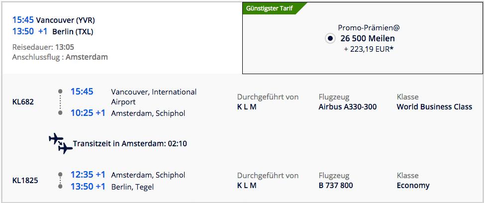 Für 493€ und 53000 Meilen Business Class nach Kanada Rückflug
