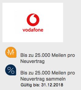 25.000 Miles & More Lufthansa Meilen für Vodafone Vertrag Details