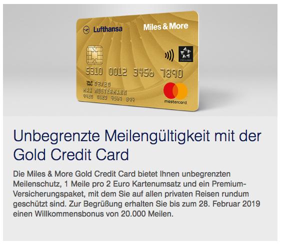 20.000 Miles & More Meilen Willkommensbonus Miles & More Gold Credit Card Gold Teaser