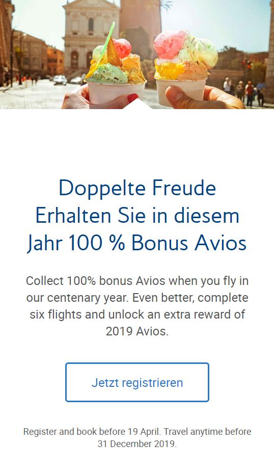 100 % Bonus Avios auf die nächsten 6 Flüge mit British Airways Details