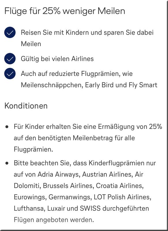 25% Rabatt auf Flugprämien für Kinder bei Miles & More ab April 2019 Meilenschnäppchen Early Bird Fly Smart Details