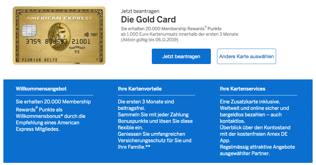 20.000 American Express 10000 PAYBACK Punkte mit American Express Gold Kreditkarte