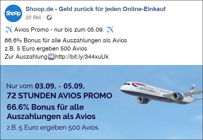 Shoop Avios Promo 66,6% Bonus für Auszahlungen Transfer Avios Meilen Details