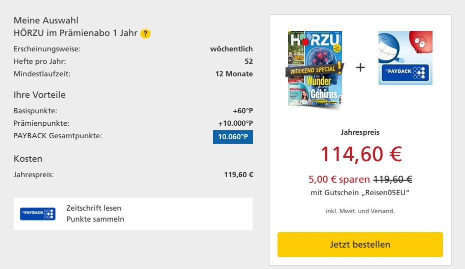 10.060 PAYBACK Punkte - Lufthansa Miles & More Meilen für 114€ mit HÖRZU Zeitungsabo Weekend Special Details