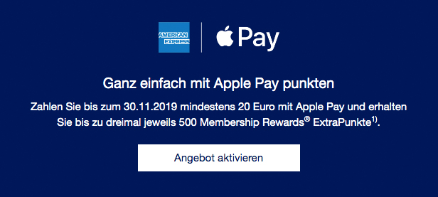 Für 20 EURO Umsatz mit Apple Pay 500 Membership Rewards Punkte sammeln Details