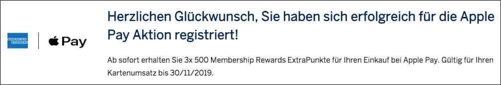 Für 20 EURO Umsatz mit Apple Pay 500 Membership Rewards Punkte sammeln Registrierung