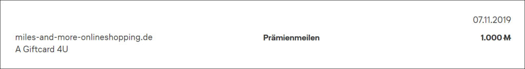 Cadooz Miles & More Prämienmeilen Gutschrift Gutschein
