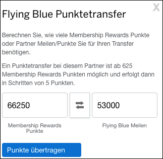 Transfer 66240 Amex Punkte zu 53000 Flying Blue Meilen