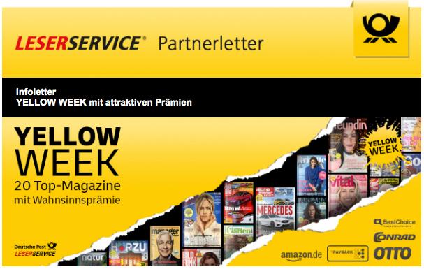 YELLOW WEEK Leserservice Deutsche Post PAYBACK Prämien Zeitungsabos