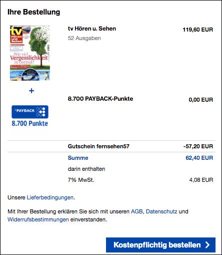 tv Hören Und Sehen Abo 8700 PAYBACK Punkte