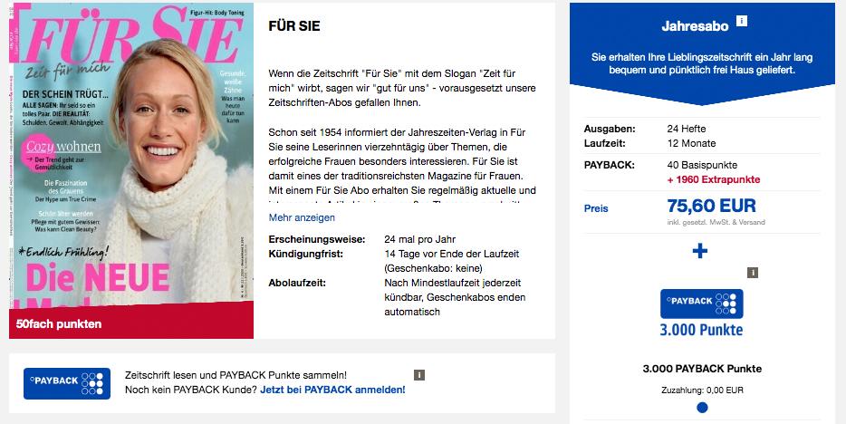 PAYBACK Punkte sammeln mit einem Für Sie Abo vom Burda Verlag