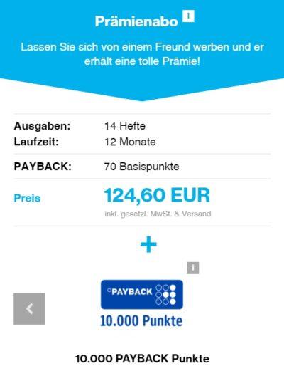 10.070 PAYBACK Punkte Miles And More Meilen für 125 EUR mit einem Zeitungsabo Details
