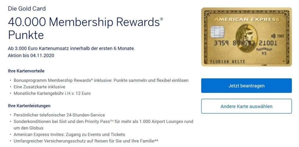 40.000 American Express Membership Rewards Punkte mit der American Express Gold Kreditkarte September 2020