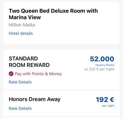 Wie Ihr ein 300€ Hilton Zimmer für 43€ plus Hilton Honors Punkten buchen könnt Marina View Hilton Malta
