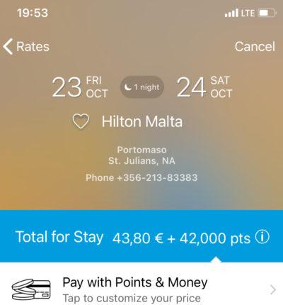 Wie Ihr ein 300€ Hilton Zimmer für 43€ plus Hilton Honors Punkten buchen könnt Marina View Hilton Malta Pay With Poins and Money