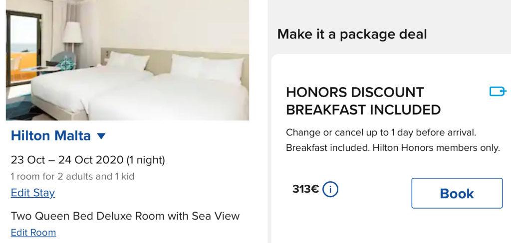 Wie Ihr ein 300€ Hilton Zimmer für 43€ plus Hilton Honors Punkten buchen könnt Sea View Hilton Malta Upgrade