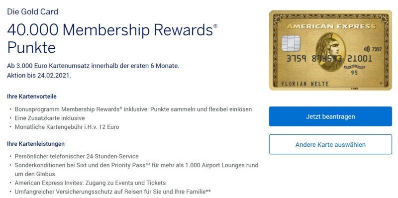 40000 American Express Membership Rewards 20000 PAYBACK Punkte Amex Gold Kreditkarte Januar 2021