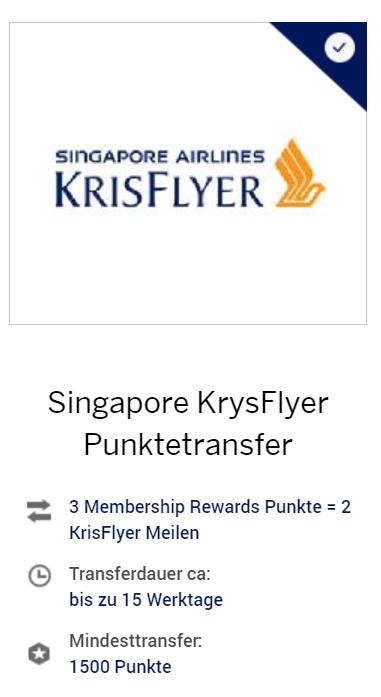 Verschlechterung Transfer Amex Rewards zu Singapore Airlines Krisflyer