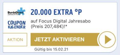 20.000 PAYBACK Punkte für 207,48€ mit einem Focus Digital Jahresabo Coupon