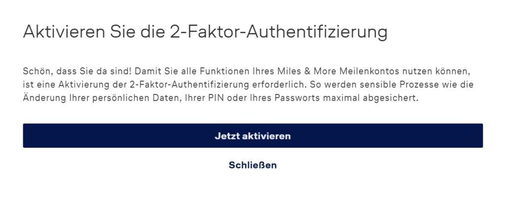 Mit der Zwei-Faktor-Authentifizierung (2FA) Euer Miles & More Konto zusätzlich schützen Login