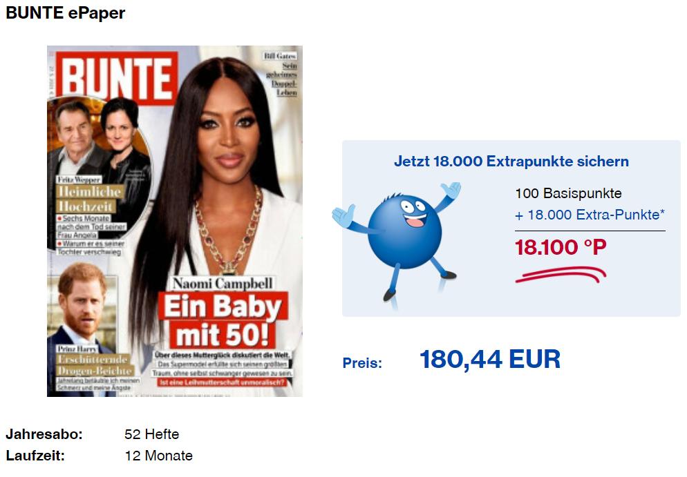 18.100 PAYBACK Punkte für 180 EUR mit einem BUNTE ePaper BURDA Zeitungsabo Juni 2021 Details