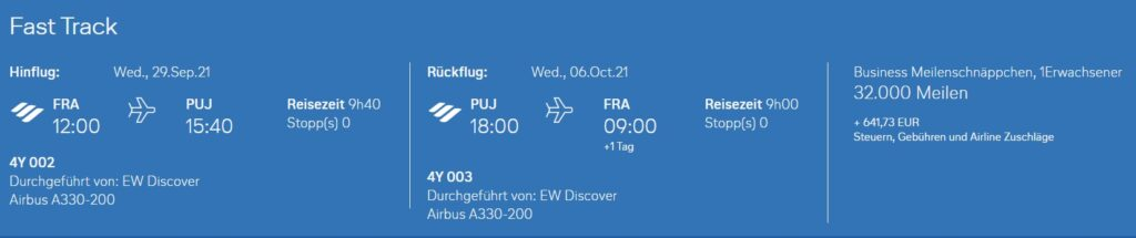 Meilenschnäppchen Eurowings Discover August 2021