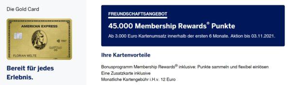 45.000 American Express Membership Rewards mit der American Express Gold Kreditkarte Oktober 2021